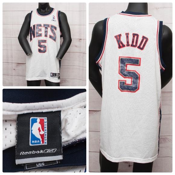 check out 247cc 31ae6 JASON KIDD White New Jersey Nets Jersey Reebok L+2